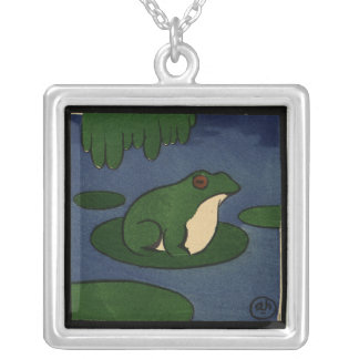 Frog - Antiquarian, Colorful Book Illustration Square Pendant Necklace