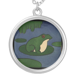Frog - Antiquarian, Colorful Book Illustration Round Pendant Necklace