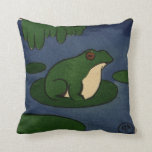 Frog - Antiquarian, Colorful Book Illustration Throw Pillows