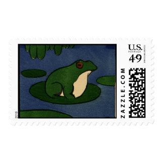 Frog - Antiquarian, Colorful Book Illustration Postage