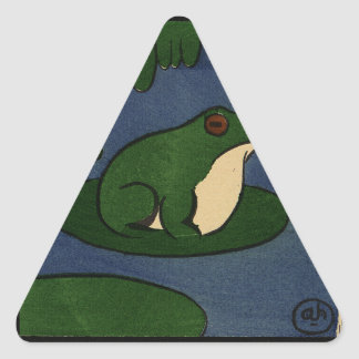 Frog - Antiquarian, Colorful Book Illustration Triangle Sticker