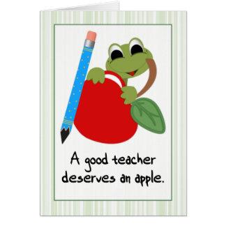 Frog & Apple Good Teacher Thank You Card