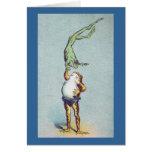 Frog Balancing Act Vintage Card