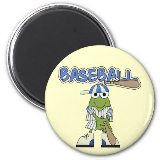 Frog Baseball Batter Up Tshirts and Gifts 2 Inch Round Magnet