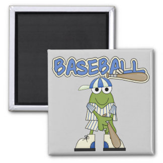 Frog Baseball Batter Up Tshirts and Gifts 2 Inch Square Magnet