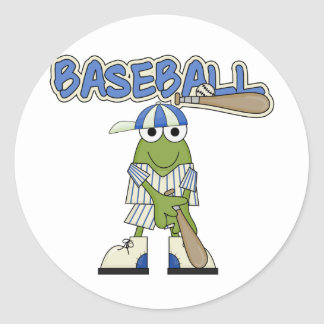 Frog Baseball Batter Up Tshirts and Gifts Classic Round Sticker