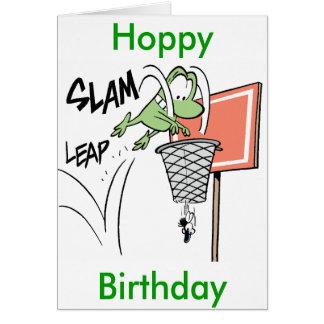 Frog Basketball Cartoon Hoppy Birthday Card