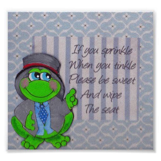 Frog Bathroom Rules Wall Decor Frog Theme Poster from Zazzle.
