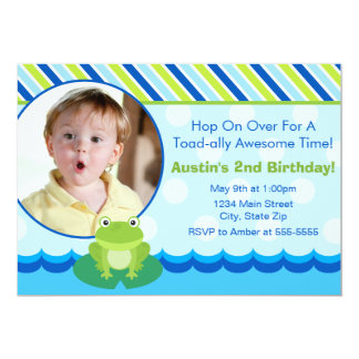 Frog Birthday Invitation Photo Card