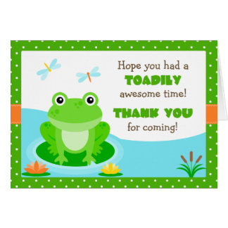 Frog Birthday Party Thank You Stationery Note Card