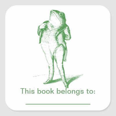 Frog  Bookplate Square Stickers