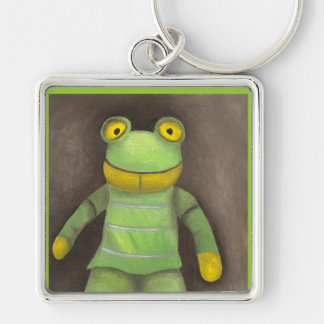 Frog Boy Silver-Colored Square Keychain