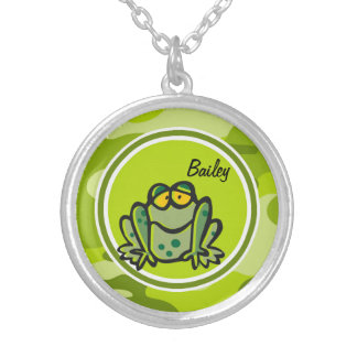 Frog; bright green camo, camouflage custom jewelry
