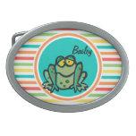 Frog; Bright Rainbow Stripes Belt Buckles