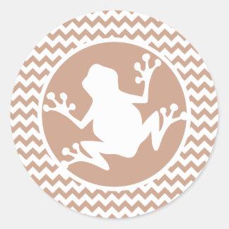 Frog Brown Chevron Sticker