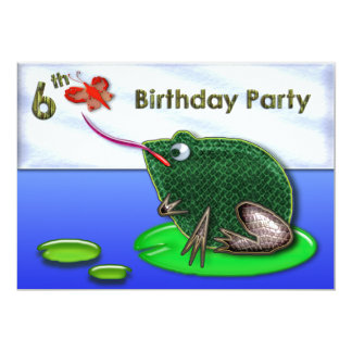 Frog & Bug in Pond 6th Birthday Card