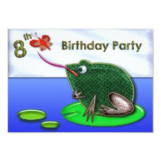 Frog & Bug in Pond 8th Birthday Card