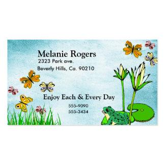 Frog, Butterflies Water Pond Business Card Template