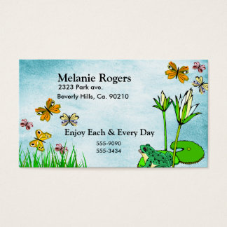 Frog, Butterflies Water Pond Business Card