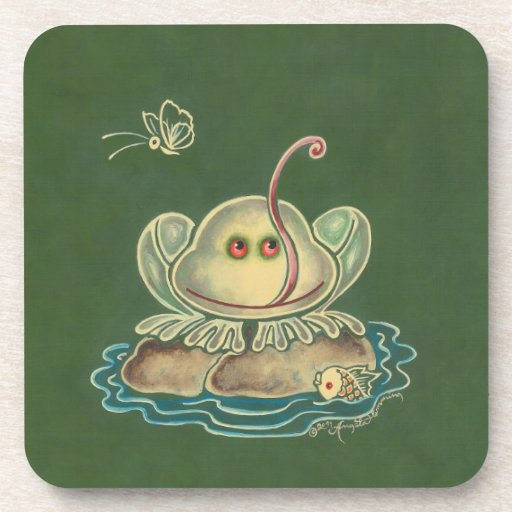 Frog Butterfly Funny Coaster