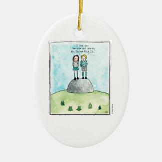 FROG CALL cartoon by Ellen Elliott Ceramic Ornament