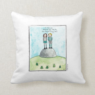 FROG CALL cartoon by Ellen Elliott Throw Pillow