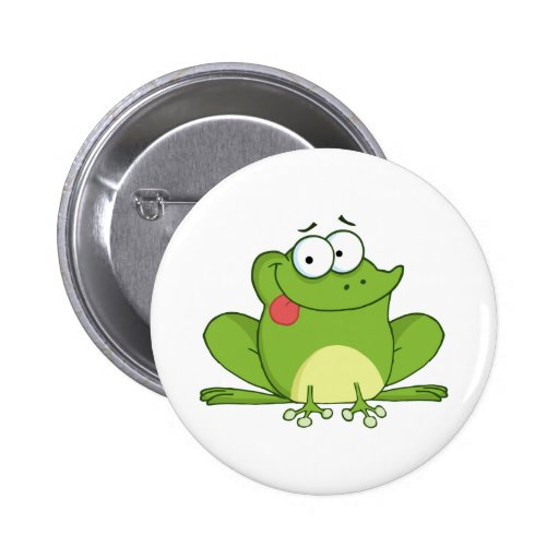Frog Cartoon Character Hanging Its Tongue Out 2 Inch Round Button