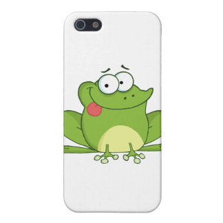 Frog Cartoon Character Hanging Its Tongue Out Cover For iPhone SE/5/5s