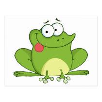 Frog Cartoon Character Hanging Its Tongue Out Postcard