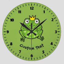 Frog Cartoon Large Clock