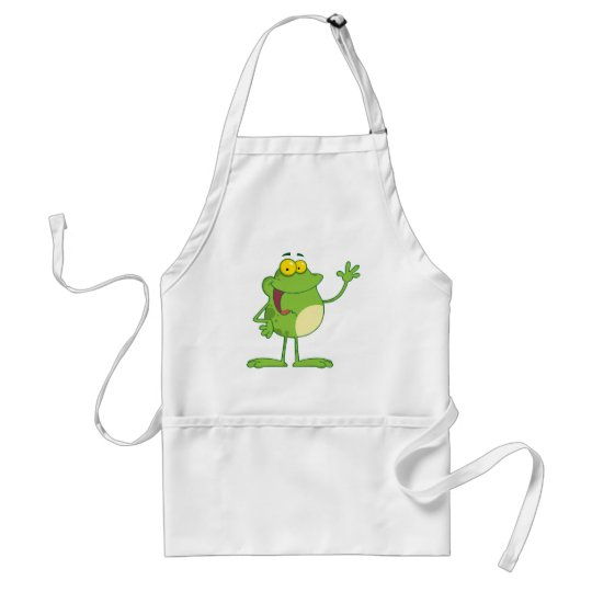 Frog Cartoon Mascot Character Waving A Greeting Adult Apron