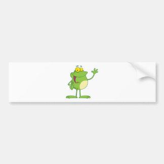 Frog Cartoon Mascot Character Waving A Greeting Bumper Sticker