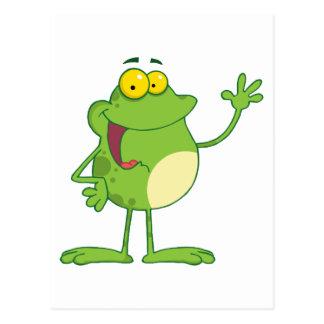 Frog Cartoon Mascot Character Waving A Greeting Postcard