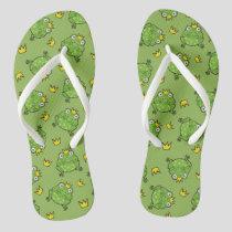 Frog Cartoon Pattern Flip Flops