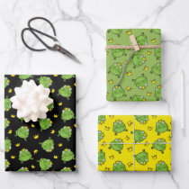 Frog Cartoon Pattern Wrapping Paper Sheets