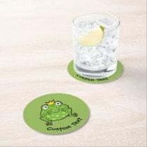 Frog Cartoon Round Paper Coaster