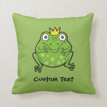 Frog Cartoon Throw Pillow