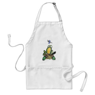 Frog Catches a Ride on Turtle Adult Apron
