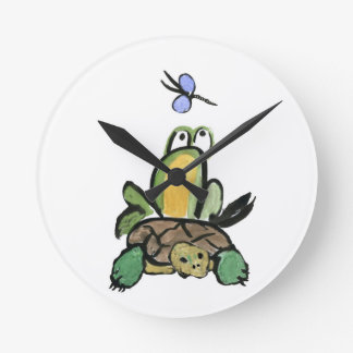 Frog Catches a Ride on Turtle Round Wallclocks