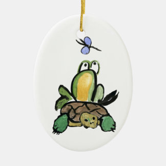 Frog Catches a Ride on Turtle Christmas Ornaments