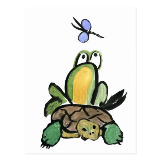 Frog Catches a Ride on Turtle Postcard