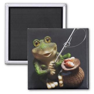 Frog Catching Fish With Fishing Pole 2 Inch Square Magnet
