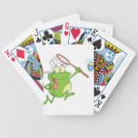 Frog chasing fly with net bicycle playing cards