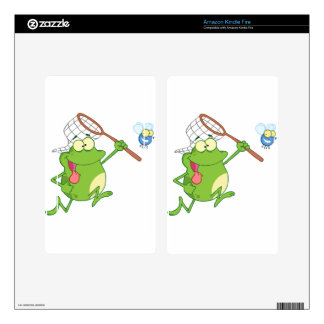 Frog chasing fly with net kindle fire skin