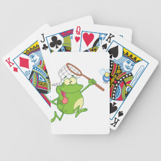 Frog chasing fly with net bicycle card deck