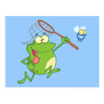 Frog Chasing Fly With Net Postcard