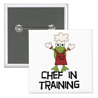Frog Chef in Training Tshirts and Gifts Button