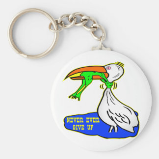 Frog Choking Bird Never Ever Give Up Basic Round Button Keychain