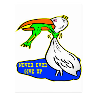 Frog Choking Bird Never Ever Give Up Postcard