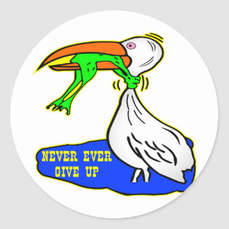 Frog Choking Bird Never Ever Give Up Sticker